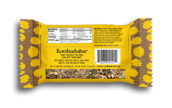 Vegan Kombucha bar Banana 45g Back