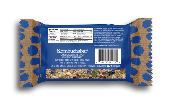 Vegan Kombucha bar Blueberry 45g Back