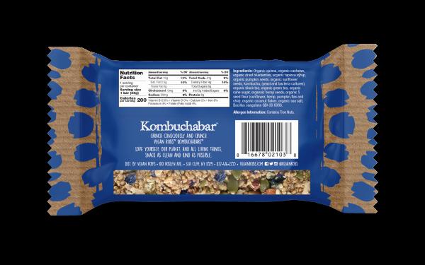 Vegan Kombucha bar Blueberry 45g Back