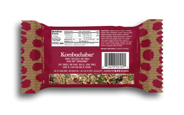 Vegan Kombucha bar Cranberry 45g Back