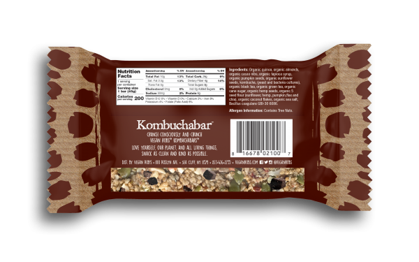 Vegan Kombucha bar Dark Cacao 45g Back
