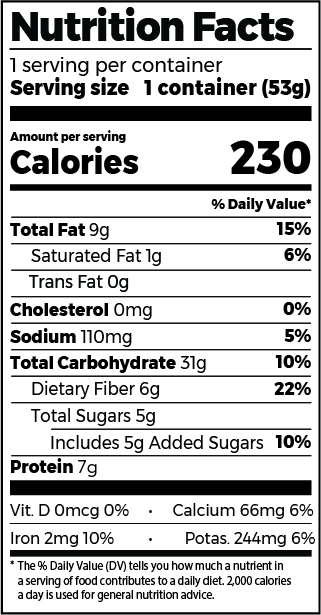 Roasted Almond & Himalayan Pink Salt Oatmeal Cup Nutrition Facts