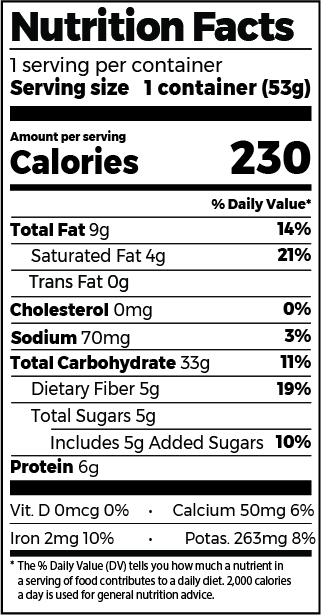 Toasted Coconut & Cassia Cinnamon Oatmeal Cup Nutrition Facts