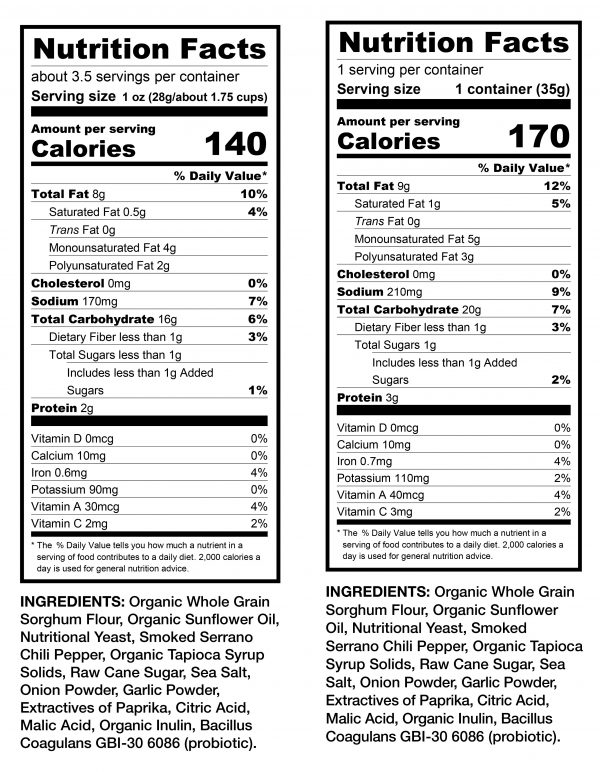 Vegan Rob's Dragon Puffs Nutrition Facts