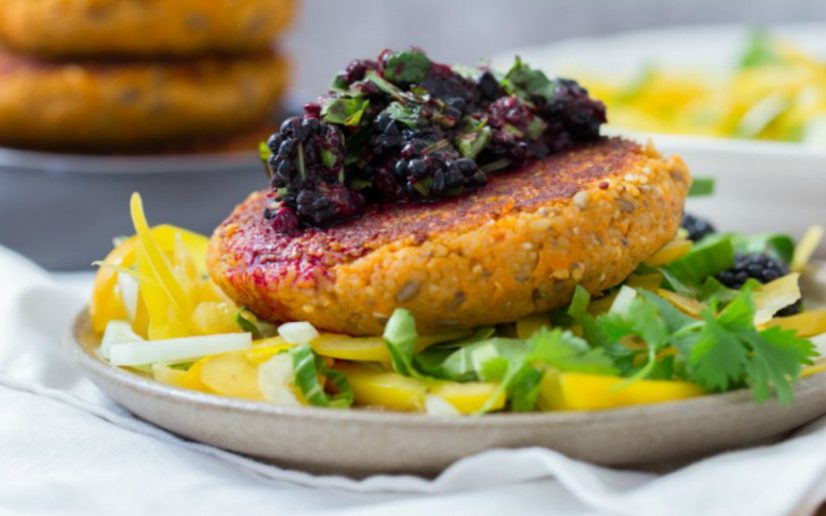 Sweet potato millet patties deja vegan